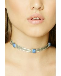 Forever 21 | Multicolor Iridescent Faux Gem Choker | Lyst