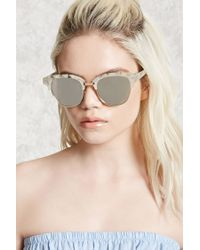 Forever 21 Metallic Faux Marble Browline Sunglasses
