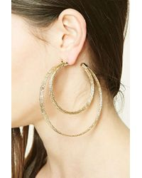 Forever 21 | Metallic Double Hoop Earrings | Lyst