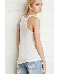 Forever 21 - White Ribbed Knit Racerback Tank - Lyst