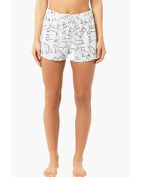 Forever 21 - Black Women's Cat Print Drawstring Pyjama Shorts - Lyst