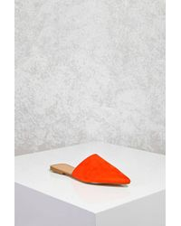 Forever 21 | Red Faux Suede Pointed Flats | Lyst