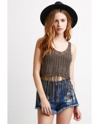 Forever 21 - Brown Open-knit Fringe Tank - Lyst