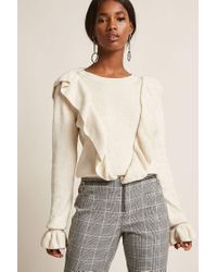 Forever 21 Natural Dual Flounce Sweater