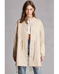 Forever 21 - Natural Lace Back Trench Coat - Lyst