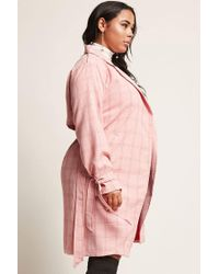 Forever 21 - Pink Plus Size Cutout Plaid Coat - Lyst
