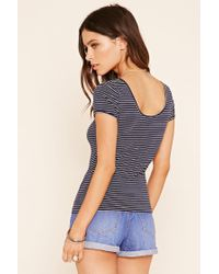 Forever 21 | Blue Stripe Knit Top | Lyst