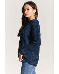 Forever 21 Blue Ribbed Fuzzy Knit Sweater