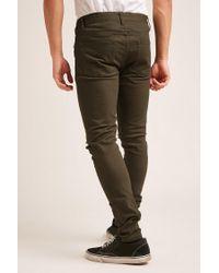 Forever 21 - Green Distressed Knee Skinny Jeans for Men - Lyst