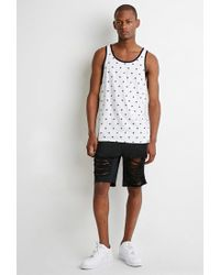 Forever 21 - White Star Print Tank for Men - Lyst