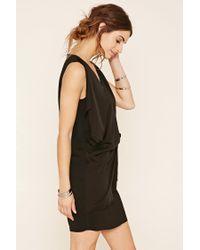 Forever 21 - Black Drapey Shift Dress - Lyst
