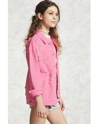 Forever 21 Pink Distressed Denim Jacket