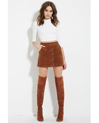 Forever 21 - Brown Corduroy Buttoned Skirt - Lyst