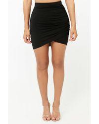 Forever 21 Black Ruched Mini Skirt