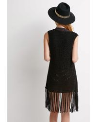 Forever 21 Black Open-knit Fringe Vest
