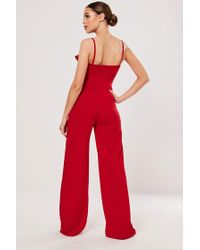 Missguided Bow Jumpsuit At , Red