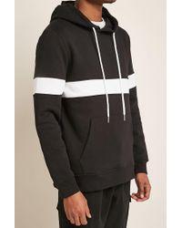 Forever 21   Black Contrast Stripe Hoodie for Men   Lyst