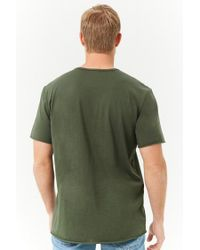 Forever 21 - Green 's Rolled-trim Knit Tee Shirt for Men - Lyst