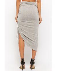 Forever 21 Gray Women's Ruched Midi Skirt