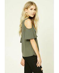 Forever 21 - Green V-neck Open-shoulder Top - Lyst