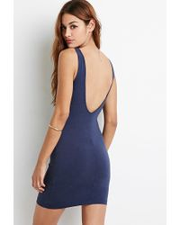 Forever 21 - Blue Scoop Back Bodycon Dress - Lyst