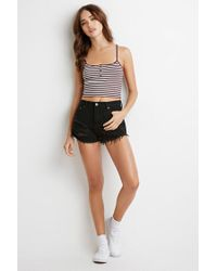 Forever 21 Purple Ribbed Knit Stripe Cropped Cami