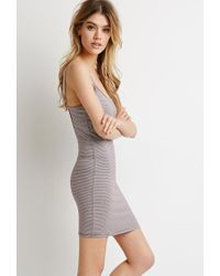 Forever 21 - Gray Striped Cutout-back Dress - Lyst