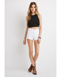 Forever 21 | Black Lace Crop Top | Lyst