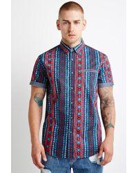 Forever 21 | Multicolor Chambray-trimmed Southwestern Print Shirt for Men | Lyst
