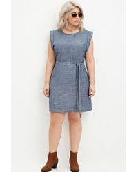 Forever 21 Plus Size Belted Chambray Dress in Dark Denim ...