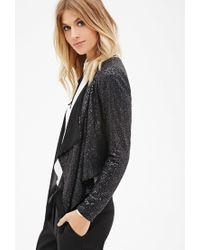 Forever 21 | Black Contemporary Sequined Open-front Blazer | Lyst