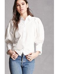 Forever 21 | White Puffy-sleeve Pintuck Shirt | Lyst