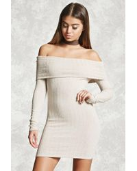 Forever 21 | Natural Off-the-shoulder Bodycon Dress | Lyst