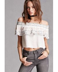 Forever 21 | White Embroidered Flounce Crop Top | Lyst