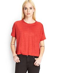 Forever 21 | Brown Relaxed Linen Tee | Lyst