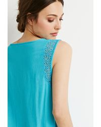 Forever 21 | Blue Woven Peasant Top | Lyst
