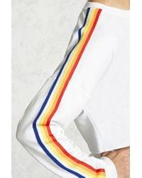 Forever 21 | White Cropped Stripe Sweatshirt | Lyst