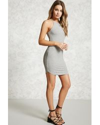 Forever 21 - Gray Bodycon Ribbed Dress - Lyst
