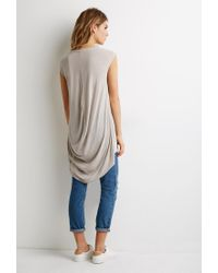 Forever 21 Natural Contemporary High-low Longline Tee