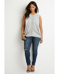 Forever 21 - Gray Plus Size Draped Overlay Top - Lyst