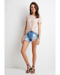 Forever 21 | Pink Crochet-paneled Top | Lyst