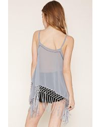 Forever 21 | Gray Sequined Fringe Cami | Lyst
