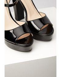 Forever 21 Black Faux Patent Platform Sandals