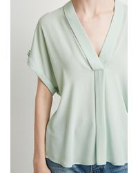 Forever 21 Green Contemporary V-neck Shawl Collar Blouse