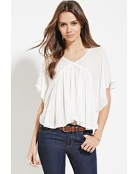 Forever 21 Natural Contemporary Angel-sleeved Top