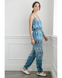 Forever 21 | Blue Striped Floral Drawstring Jumpsuit | Lyst