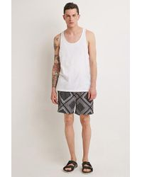 Forever 21 | Black Bandana Print Swim Trunks for Men | Lyst