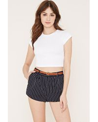 Forever 21 Blue Pleated Pinstripe Shorts