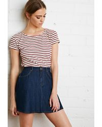 Forever 21 - Natural Boxy Nautical Striped Tee - Lyst