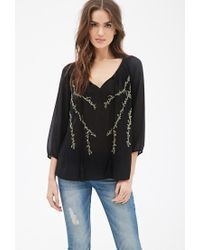 Forever 21 | Black Metallic-embroidered Chiffon Top | Lyst